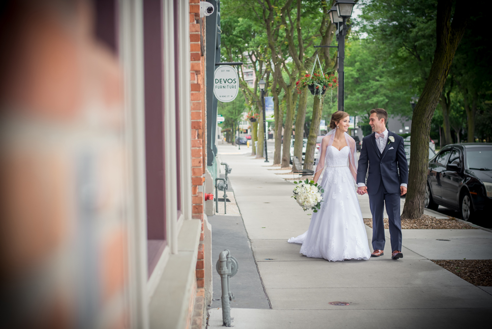Bride and Groom Downtown Chatham